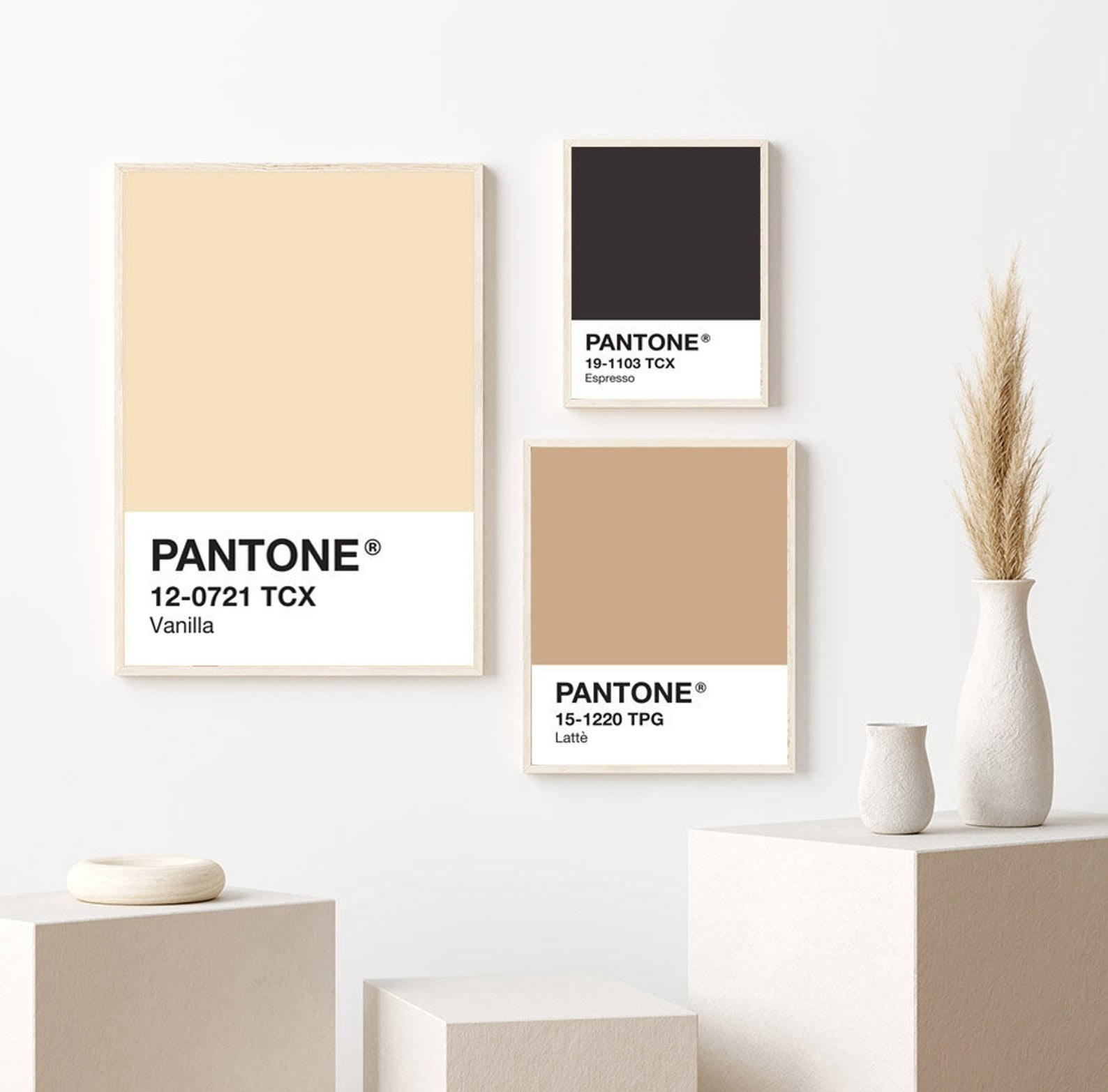the three prints in Pantone colors vanilla, espresso, and latte