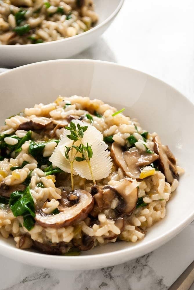 A bowl of mushroom risotto.