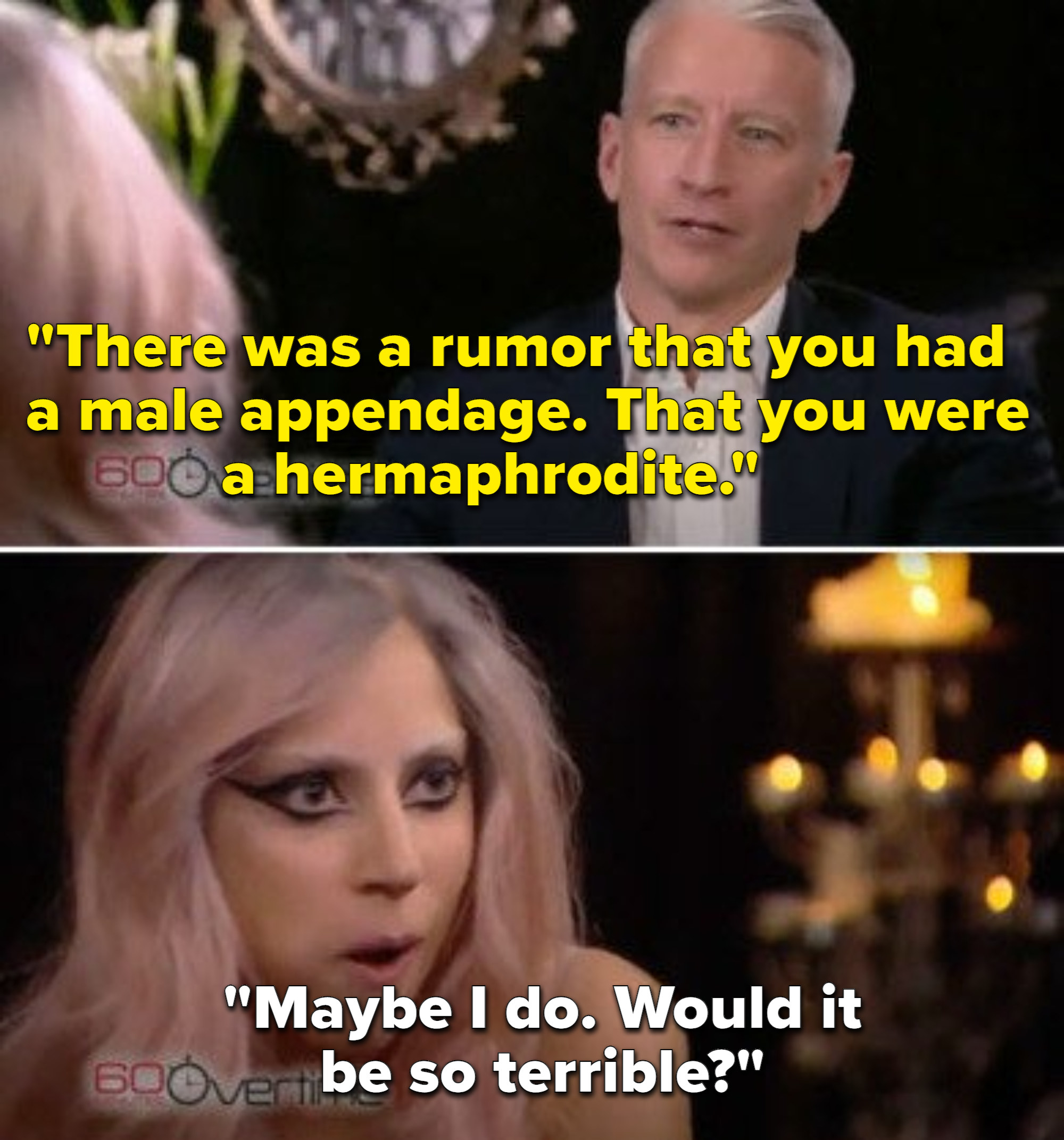 Anderson Cooper bringing up rumors about Lady Gaga having a penis