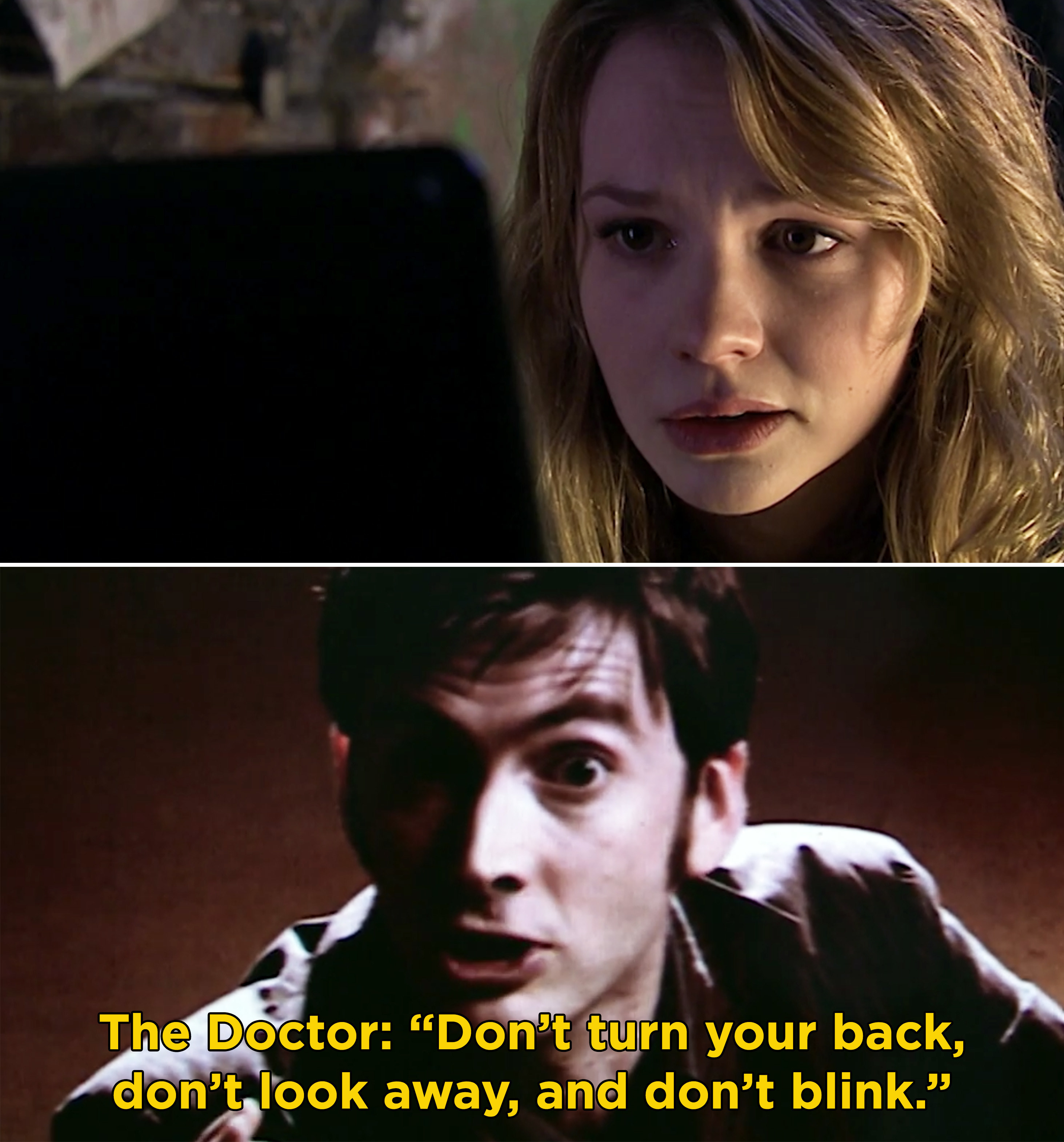 "Sally watching a video of the Doctor, and the Doctor saying, ""Don't turn your back, don't look away, and don't blink"""