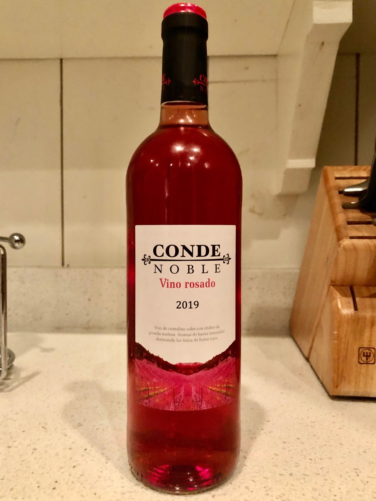 Bottle of pink Rosado wine