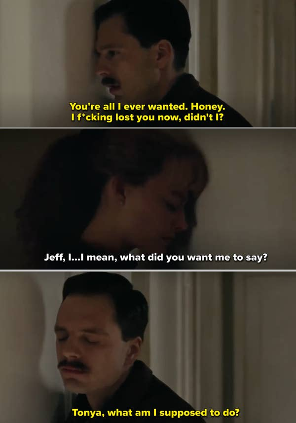 Sebastian Stan and Margot Robbie's characters talking to each other through a door