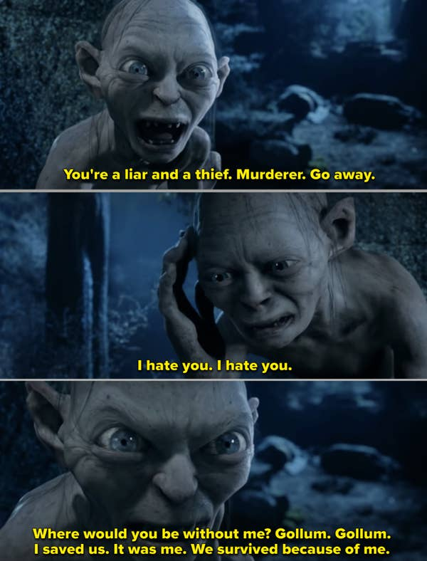 Gollum and Smeagol talking back to each other