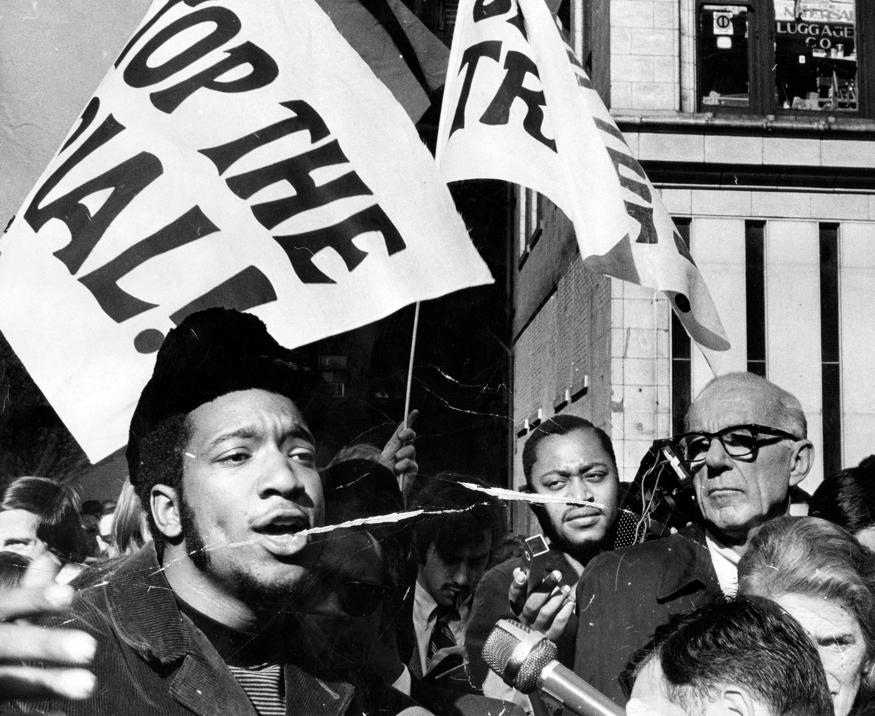 Fred Hampton is photographed at a rally.