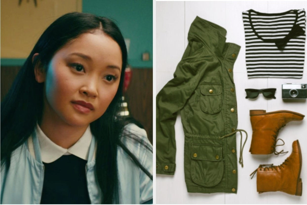 Lara Jean looks concerned at a table on the left with an array of fall clothing items on the right