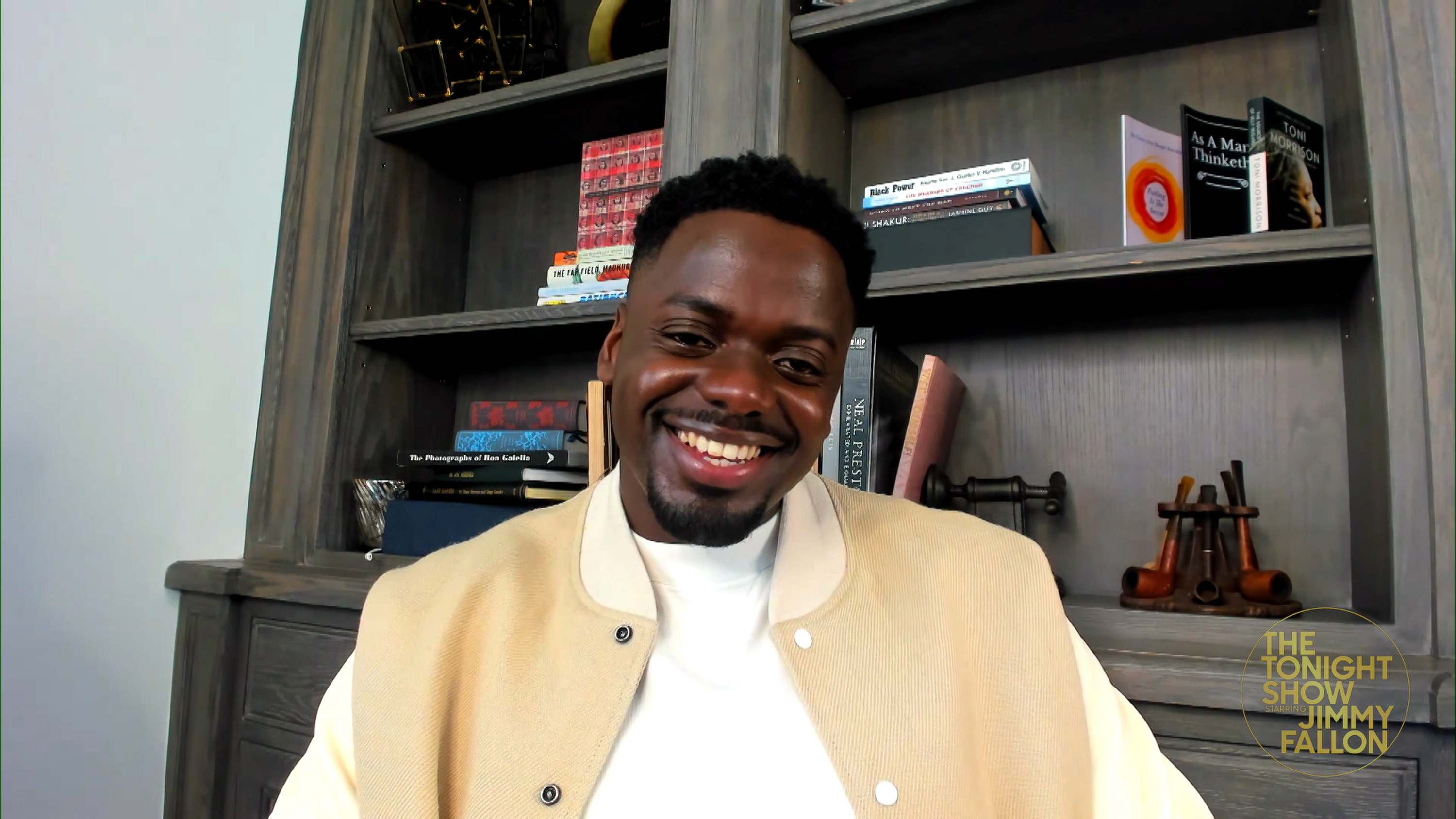 Daniel Kaluuya smiles during a video interview for the Jimmy Fallon Show.