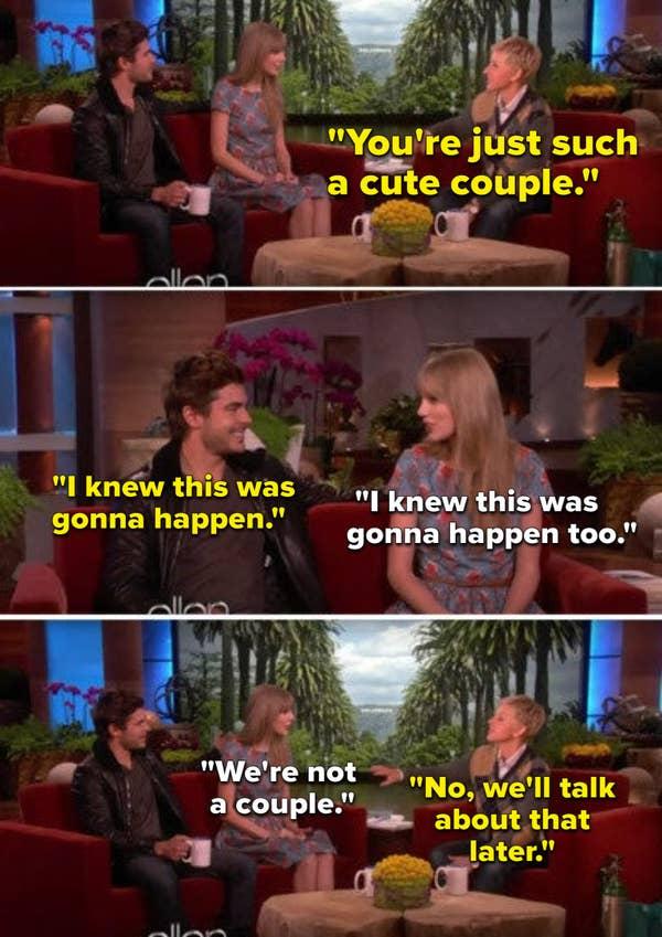 Ellen memberi tahu Taylor Swift dan Zac Efron bahwa mereka adalah pasangan yang lucu meskipun mereka tidak sedang berkencan