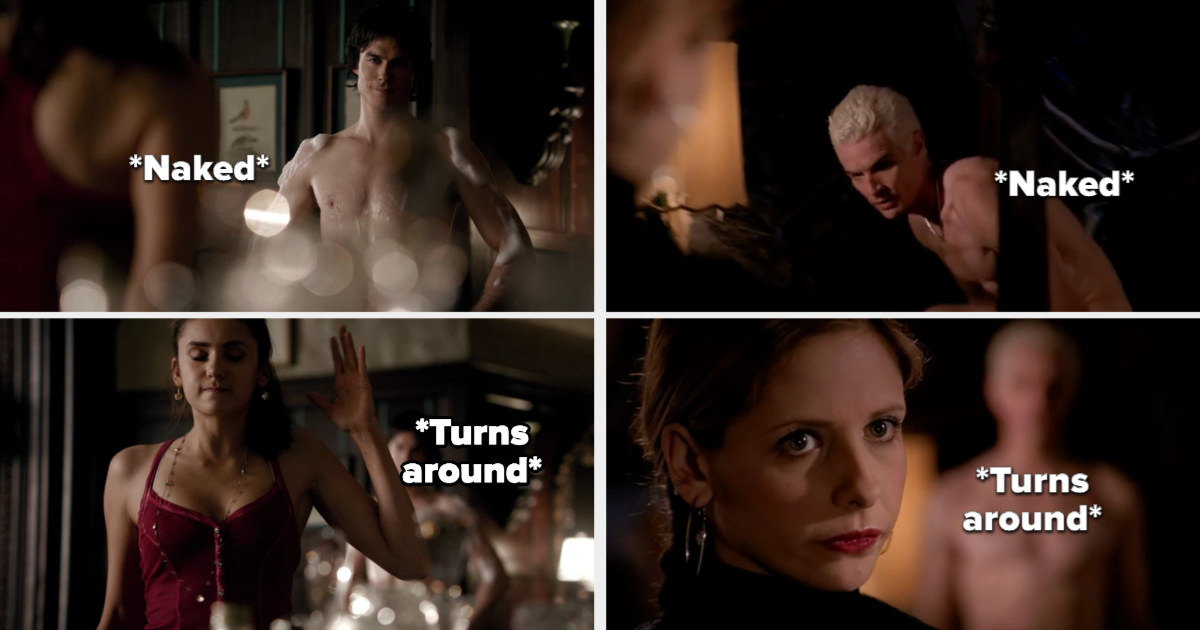 Damon comes out naked and Elena turns around, while Spike stands naked and Buffy turns