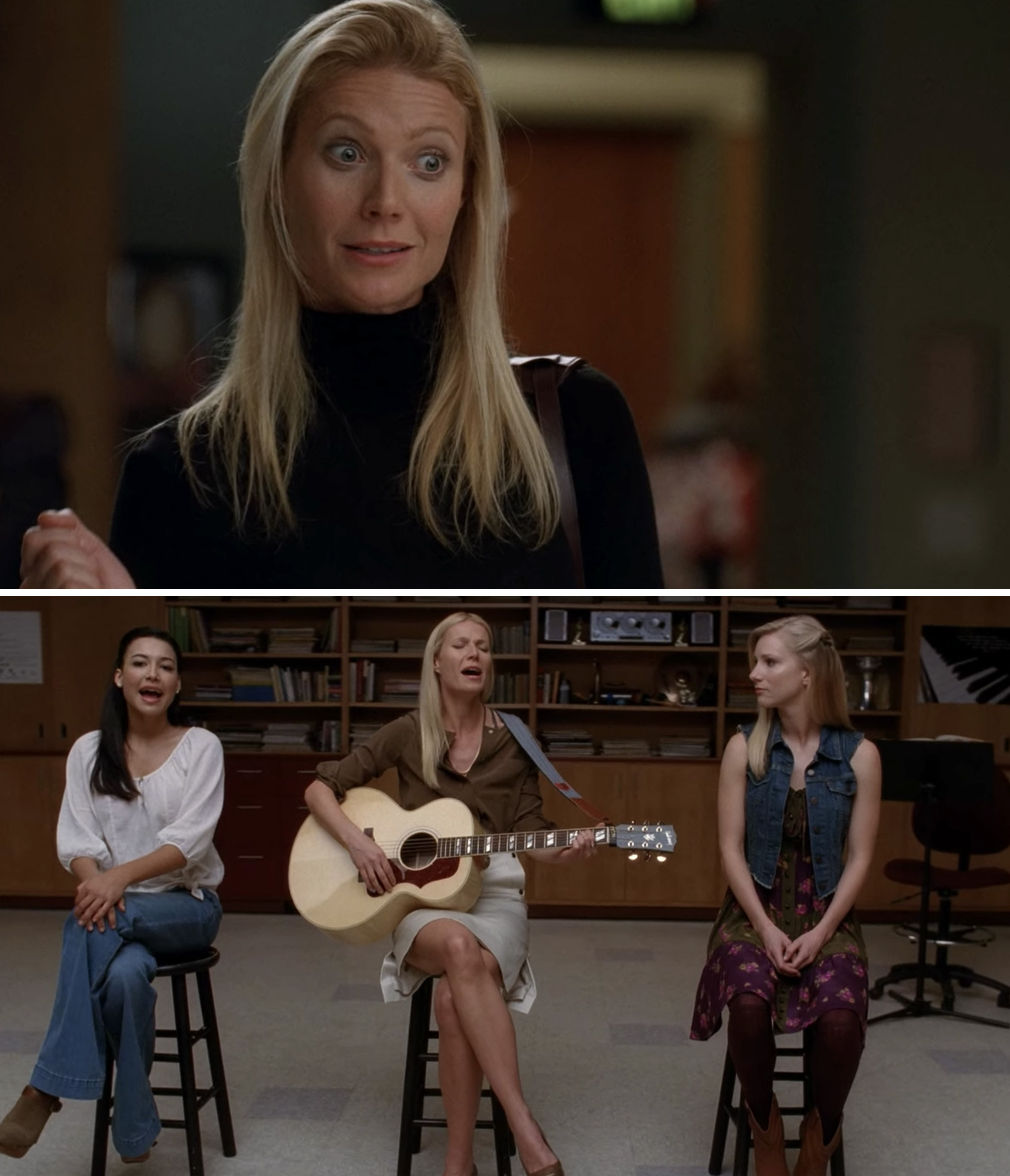 Holly singing with Santana and Brittany