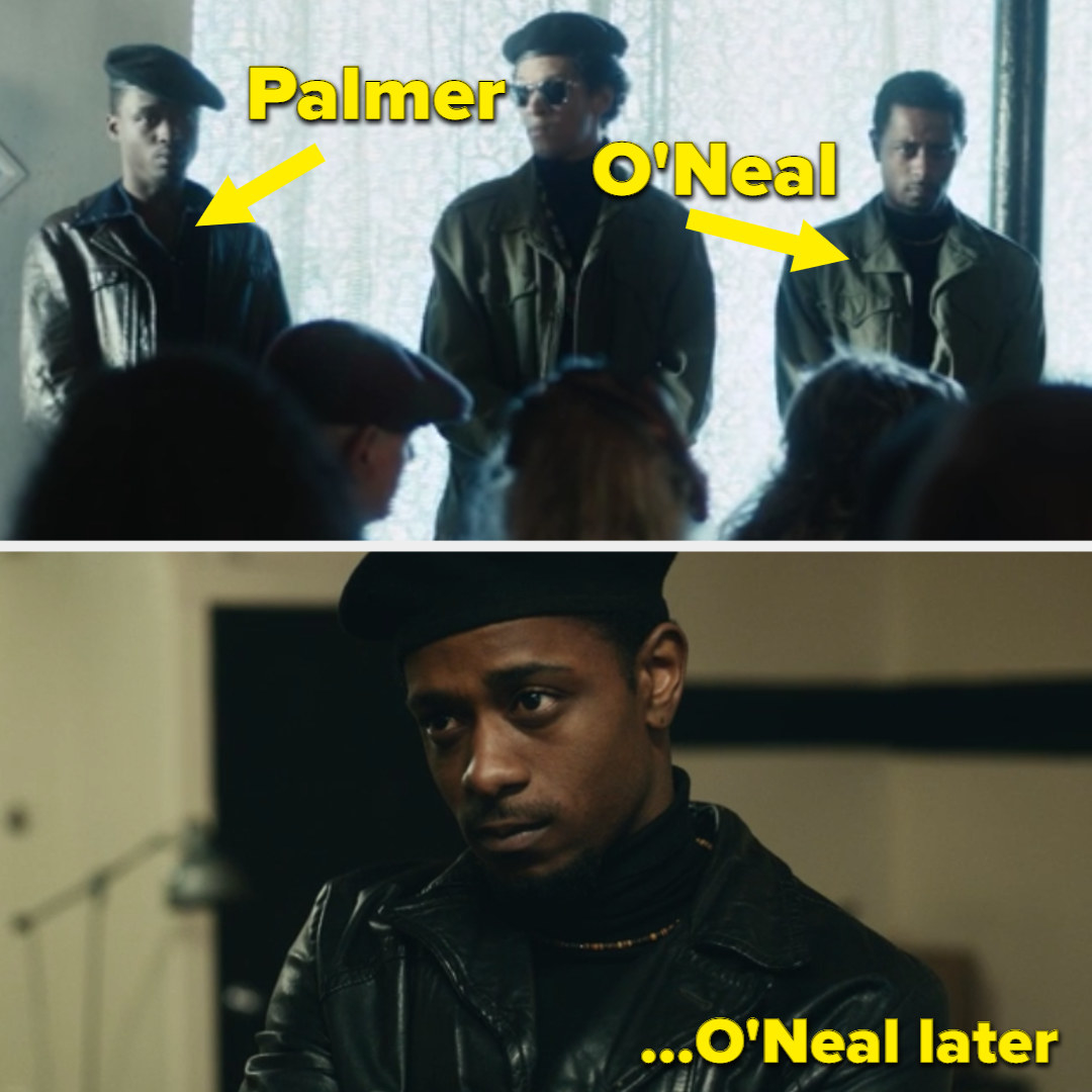 O'Neal dressed in a turtle neck and camo, later in the movie, wearing a black beret and leather jacket like Palmer was earlier in the movie