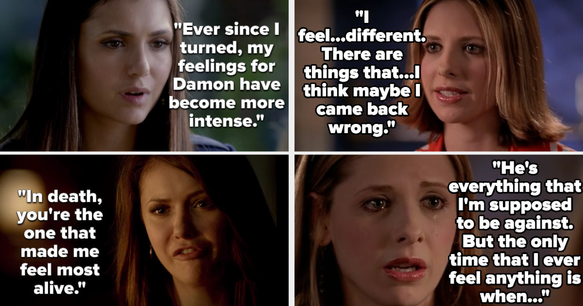 Elena says her feelings for Damon became more intense after she turned, and that Damon makes her feel alive. Buffy says she feels different since she came back and then that the only time she ever feels anything is with Spike