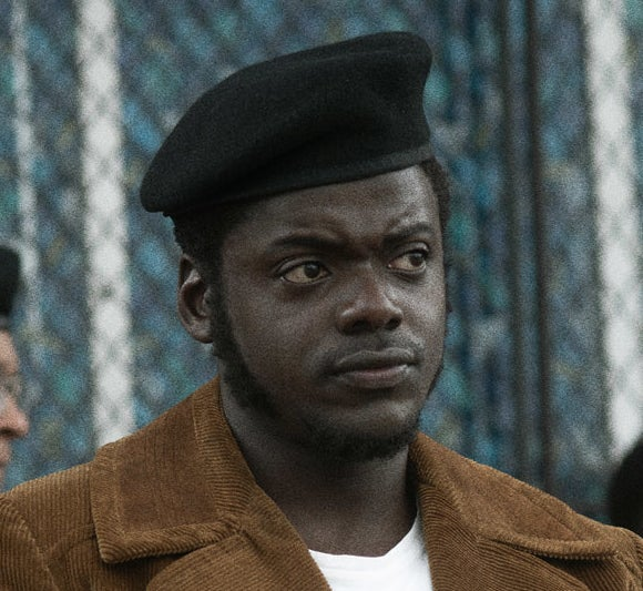 Daniel Kaluuya as Fred Hampton wearing a black beret