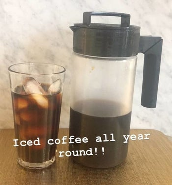 A BuzzFeeder's photo of the cold brew maker next to a glass of iced coffee