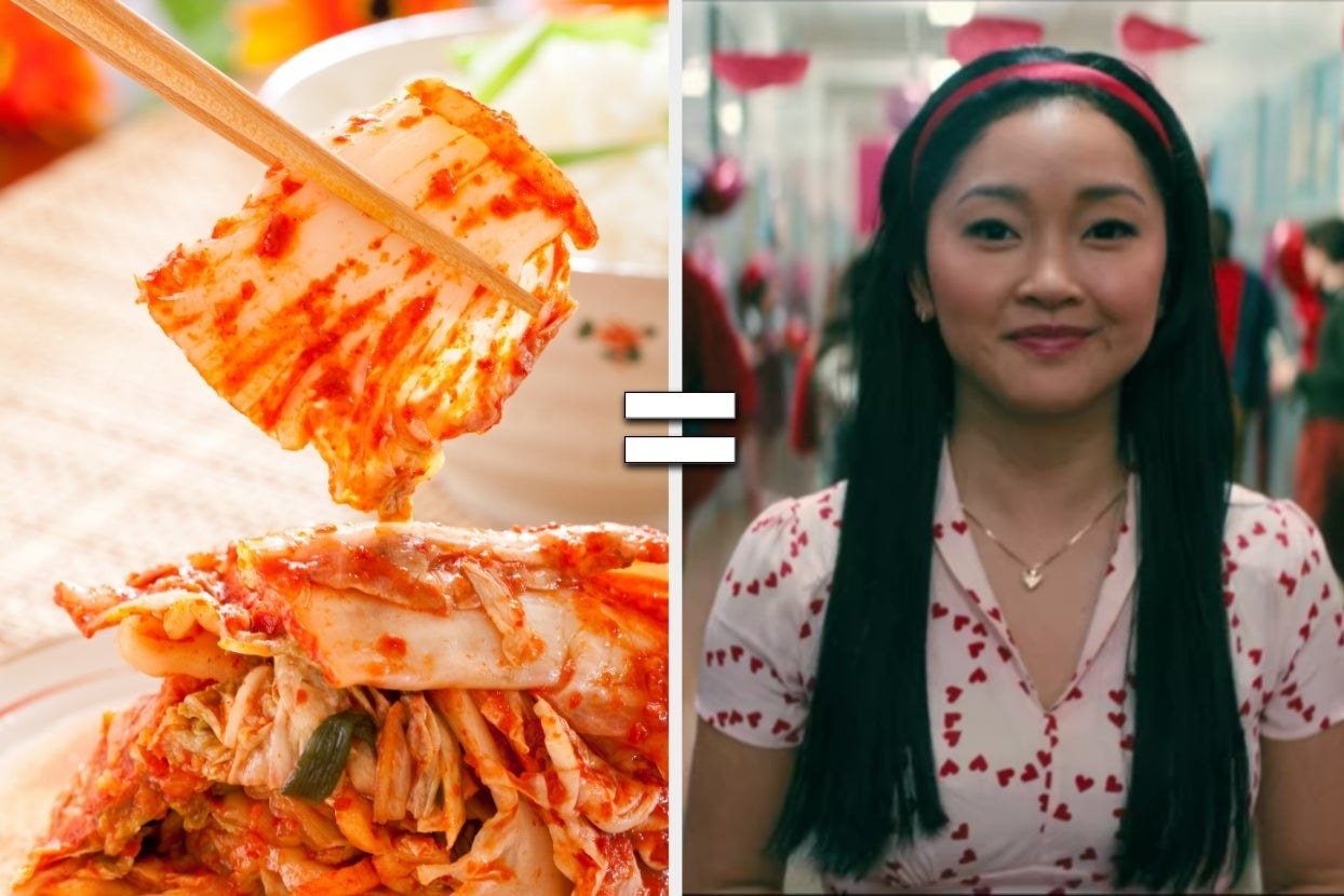 Kimchi with equal sign to Lara Jean in Valentine's shirt