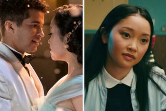 Lara Jean and John Ambrose dancing and Lara Jean looking contemplative
