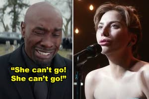 """Side-by-side of Lance crying at Mia's funeral in """"The Best Man Holiday,"""" plus Lady Gaga singing the final ballad in """"A Star is Born"""""""