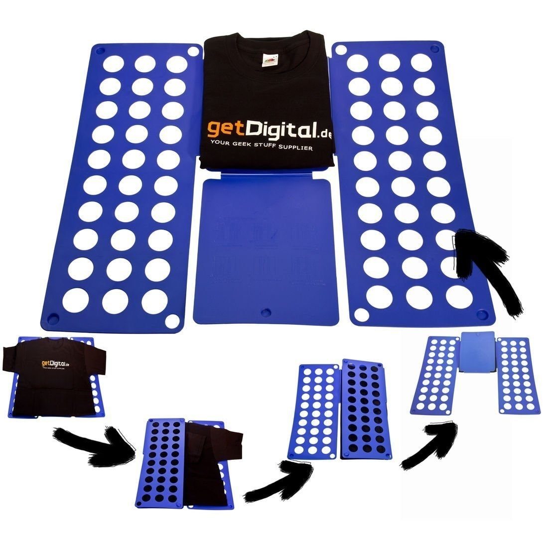 A folding board with clothes on it