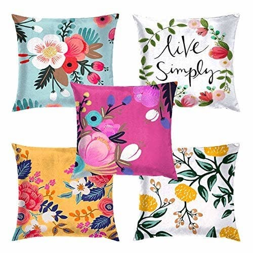 4 colourful cushion covers