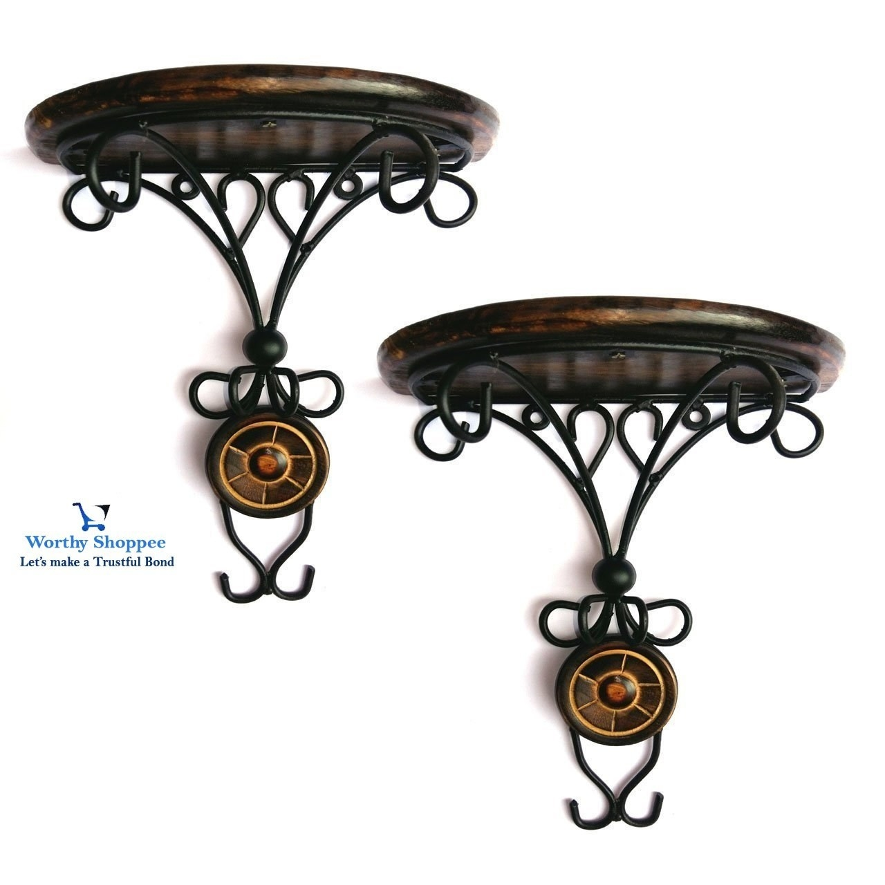 Wrought iron wall brackets on the wall