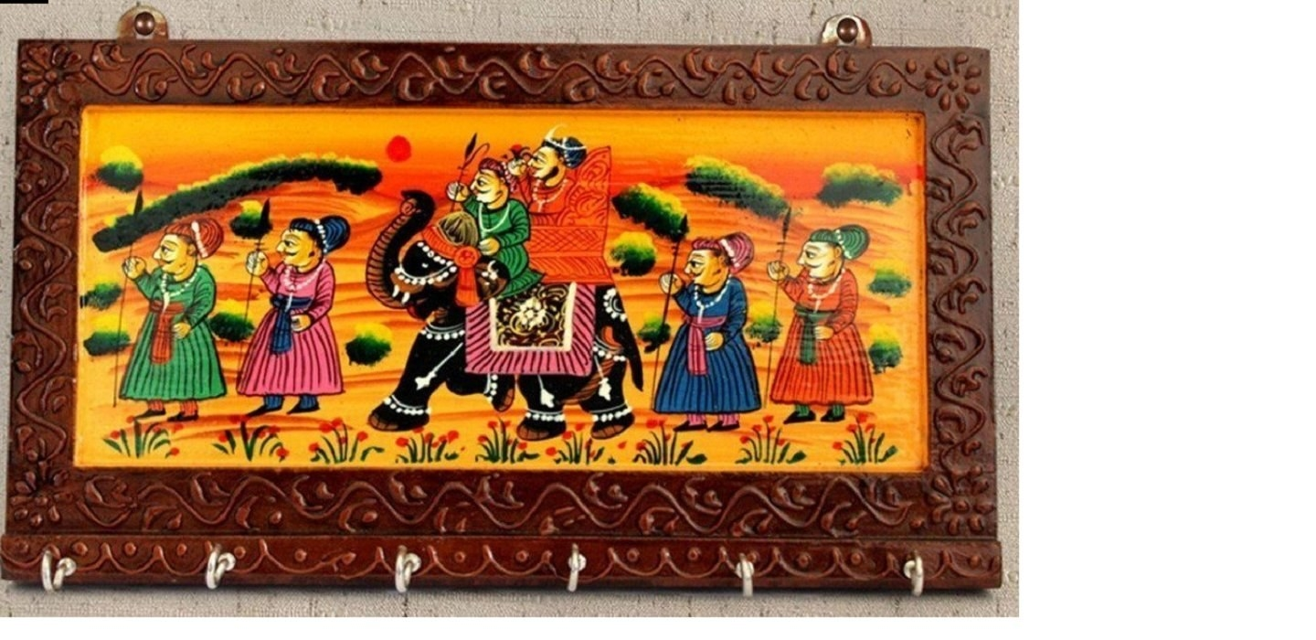 A key holder with a Rajasthani painting on it