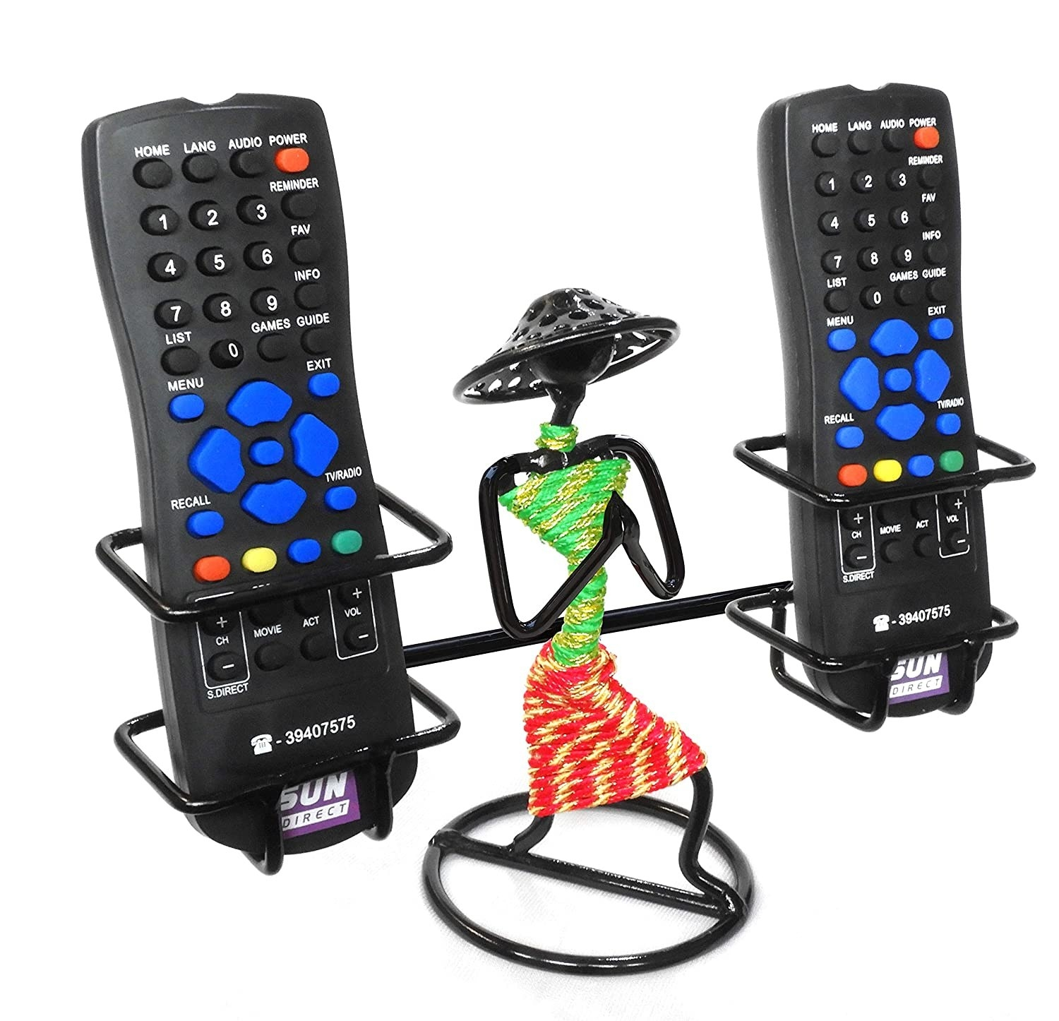 A lady shaped remote holder with remotes on the side