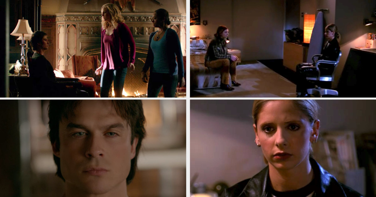 Damon and Buffy sitting catatonic