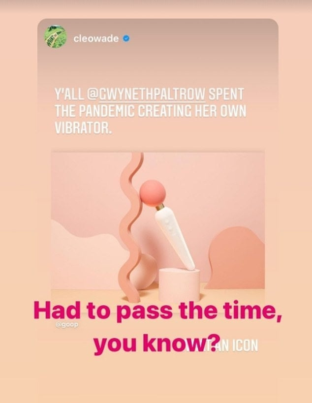 An Instagram story featuring the Goop vibrator and Gwyneth's commentary