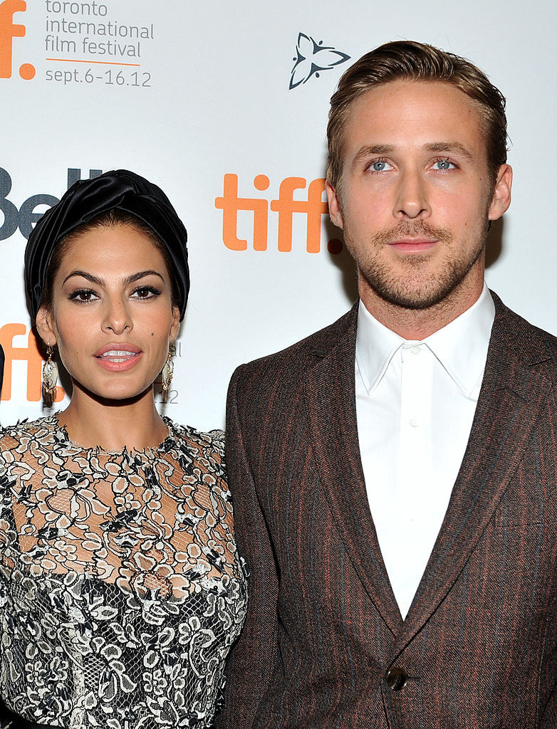 """Eva Mendes (R) and Ryan Gosling at """"The Place Beyond The Pines"""" premiere during the 2012 Toronto International Film Festival"""