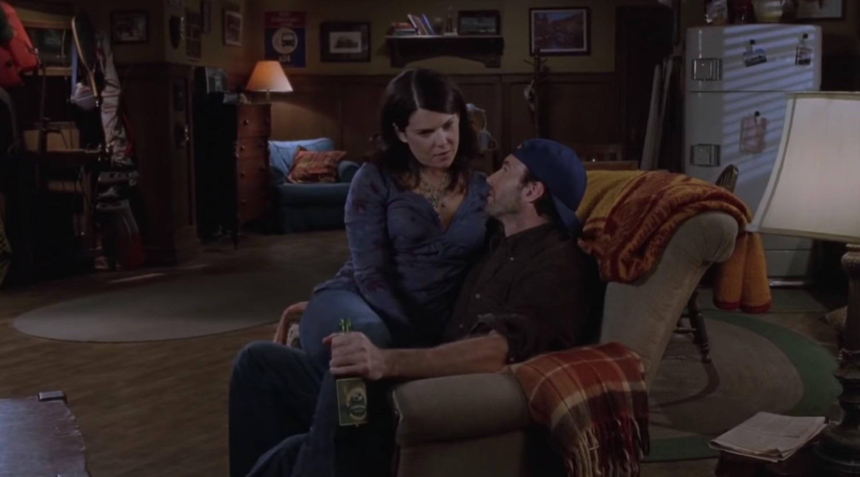 Luke and Lorelai sitting down together