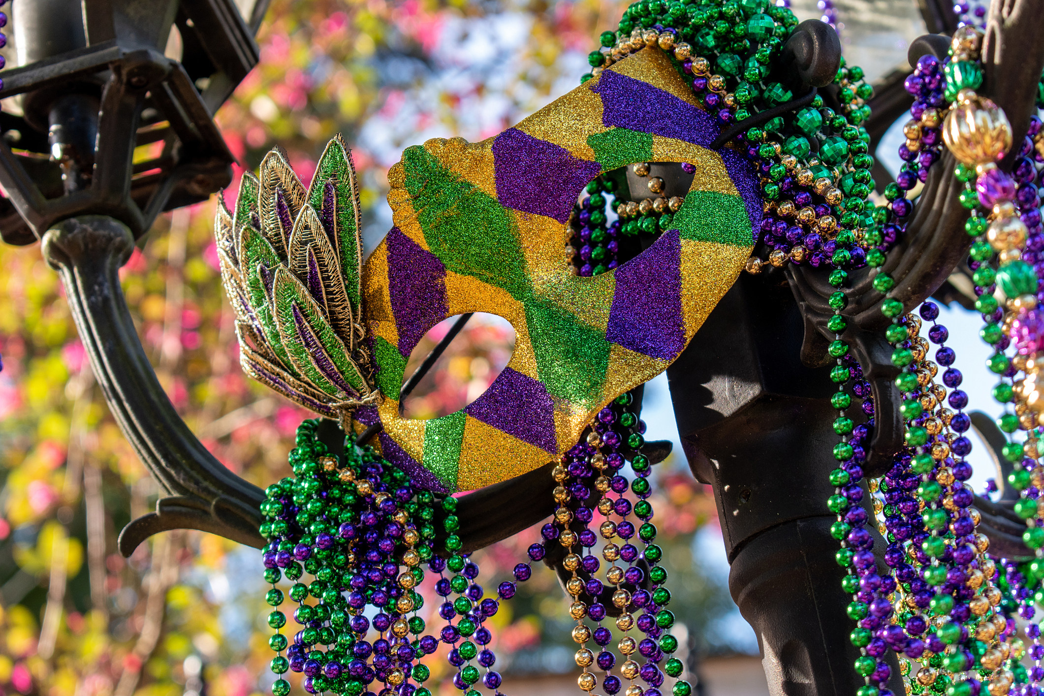 Outdoor Mardi Gras beads and mask on light post