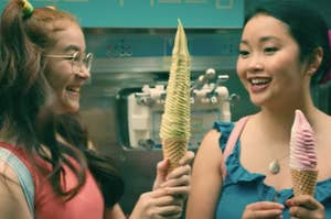 Lara Jean and Kitty eating ice cream
