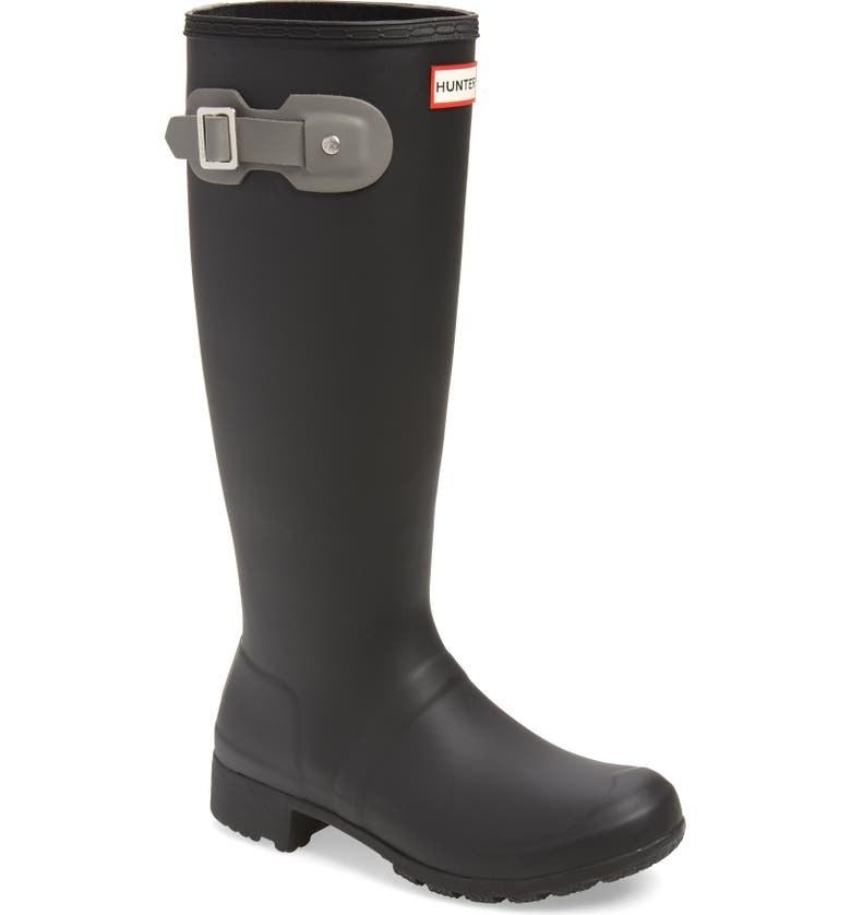 tall black hunter rain boots in a flexible fabric
