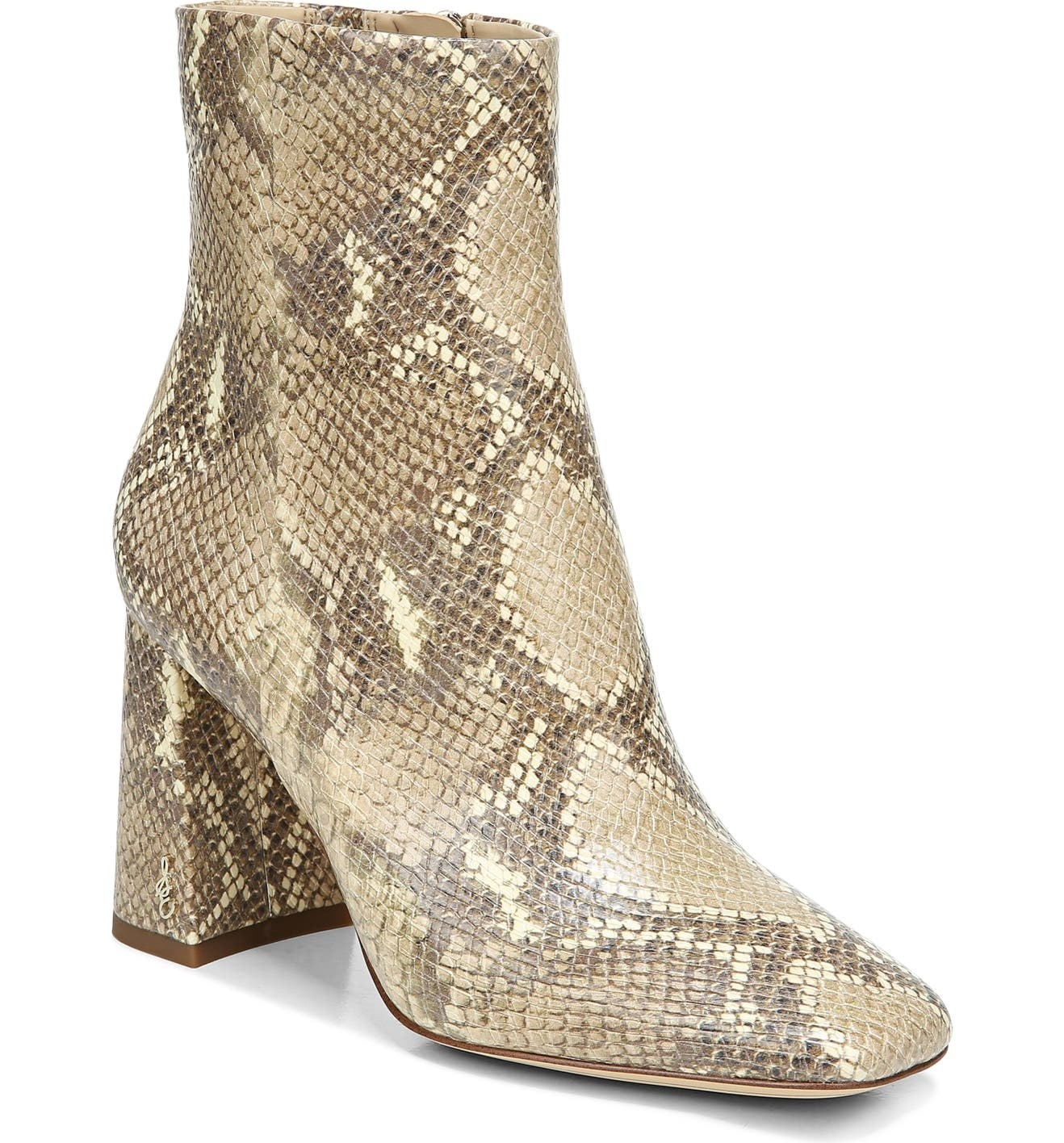 faux snake skin booties with a thick heel