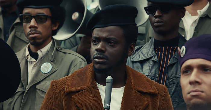 Daniel Kaluuya as Fred Hampton giving a speech, forming the Rainbow Coalition