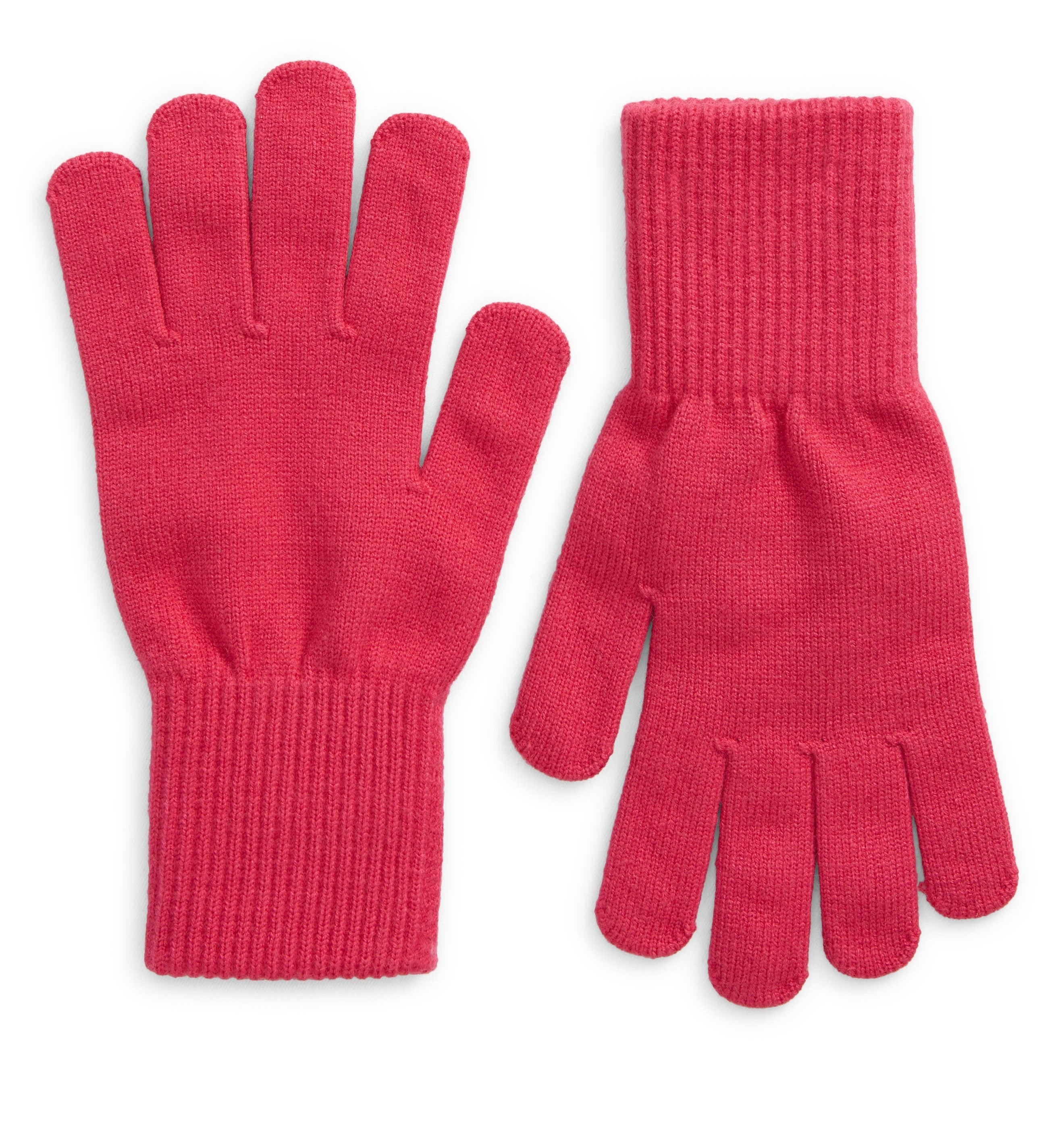 red knit gloves lying on a white background