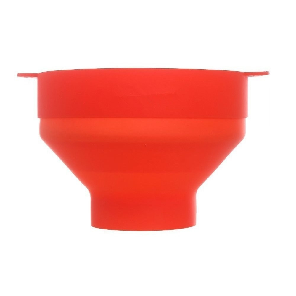 A collapsible red popcorn maker