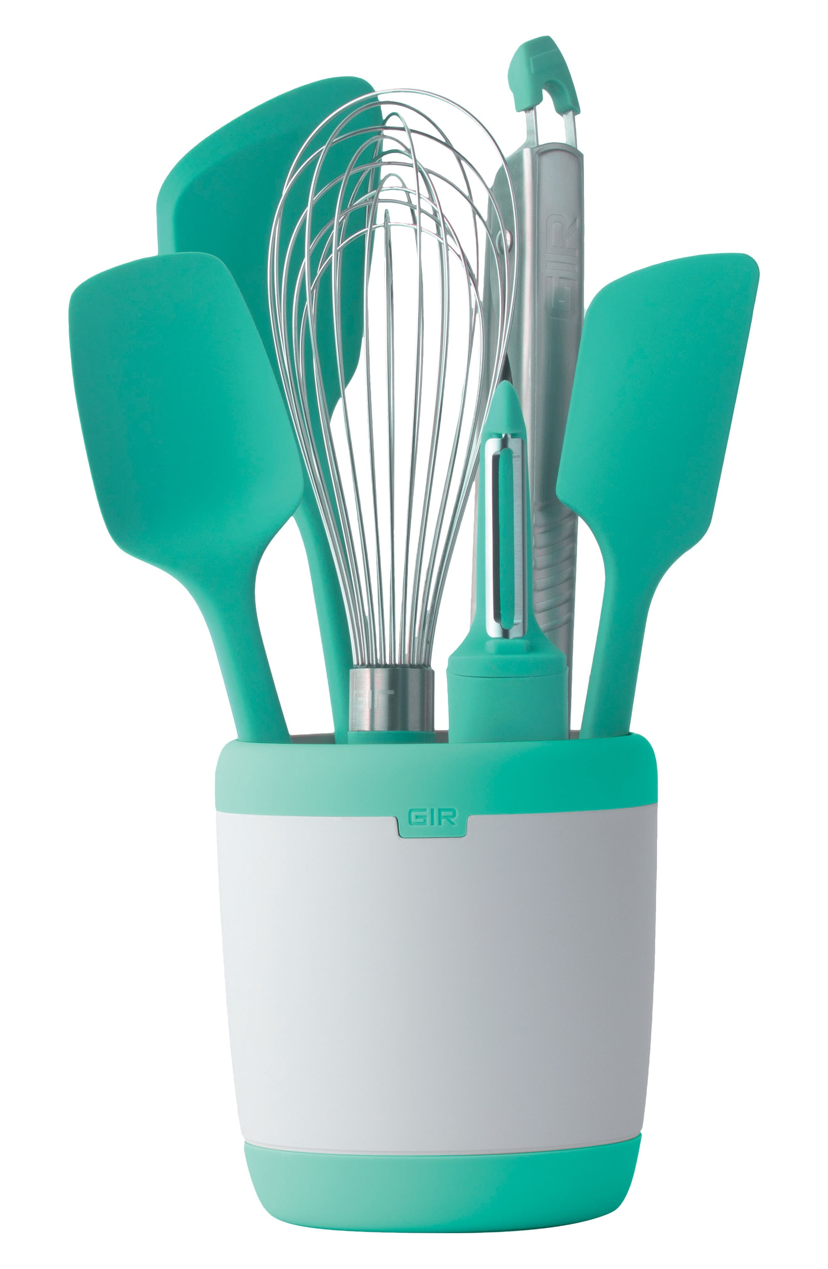 mint colored kitchen tool set in a container