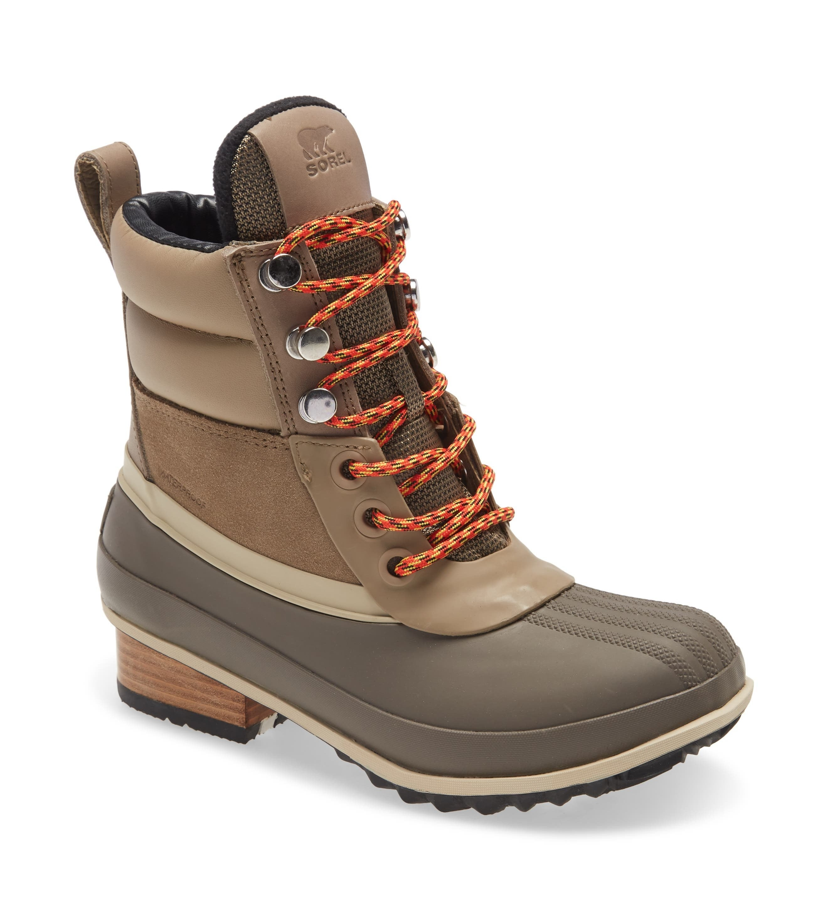 sorel waterproof hiking boot made with brown materials