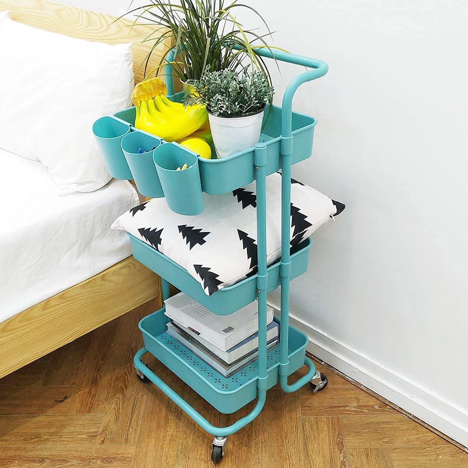 The cart beside a bed