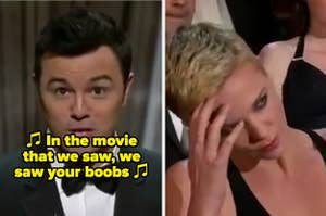 Seth MacFarlane singing a sexist song at the 2013 Oscars with Charlize Theron looking on in disgust