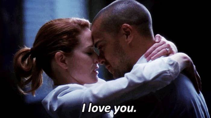 April telling Jackson she loves him and hugging him.