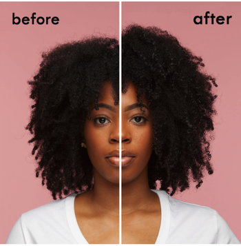 model's before-and-after of her hair looking more full, defined, and moisturized after using the product