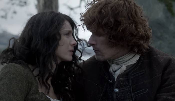 """Jamie and Claire from """"Outlander """"looking lovingly into each other's eyes."""