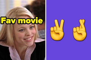 """Regina George is smiling on the left labeled, """"Fav Movie"""" with a peace sign and fingers crossed emoji on the right"""