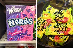 A box of Nerds candy next to bags of Sour Patch Kids candy