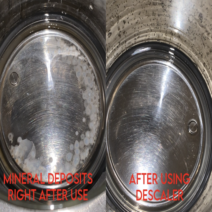 Reviewer before-and-after photo of mineral deposits removed from electric kettle