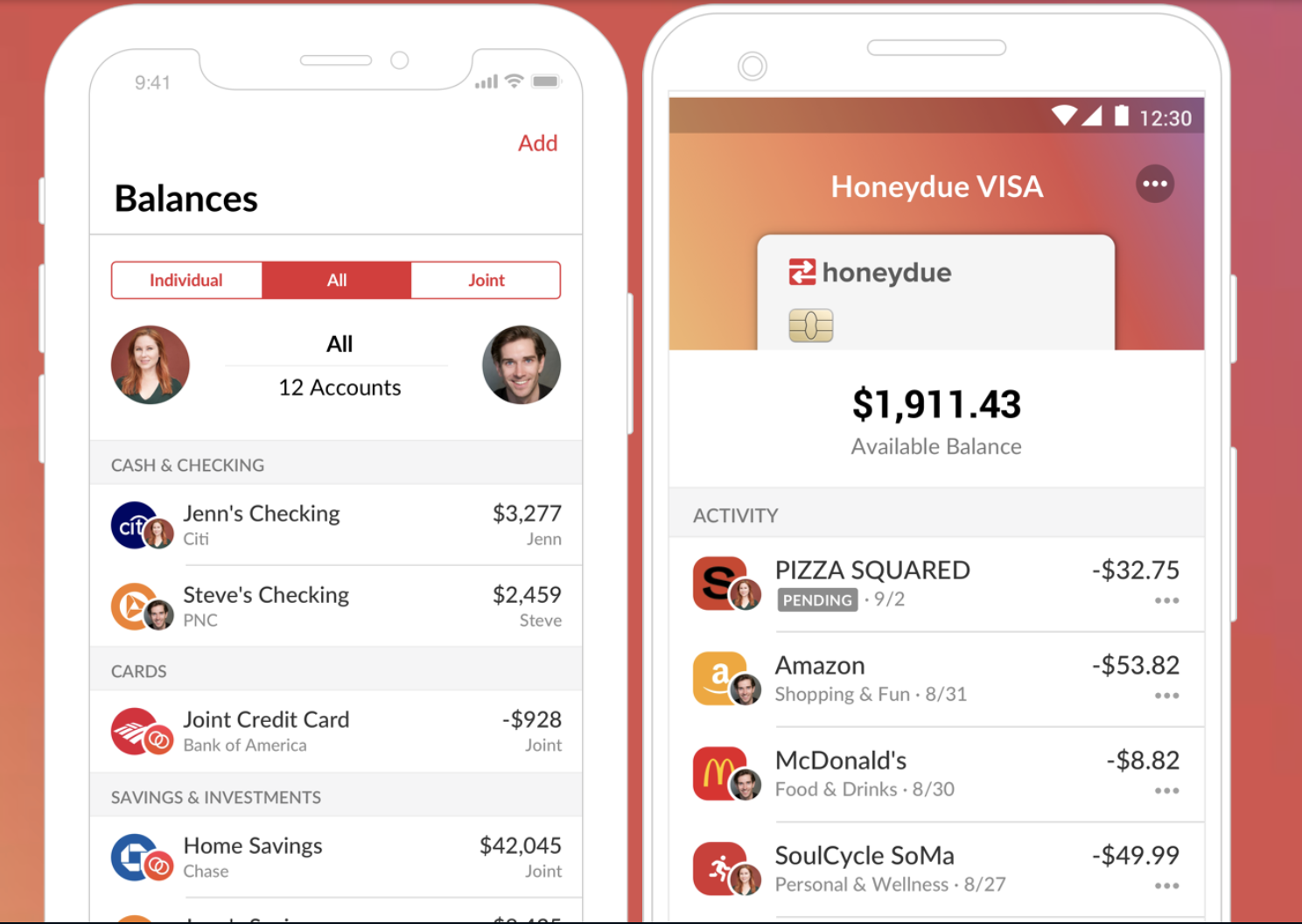 Screenshot of Honeydue app showing a couple's personal and joint accounts