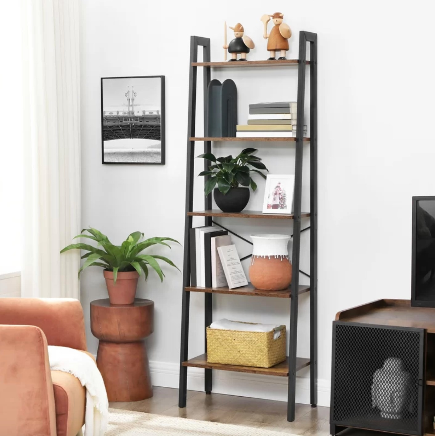 The ladder bookcase in brown