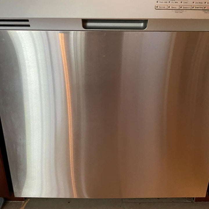 Reviewer photo of cleaned dishwasher after using stainless steel wipes