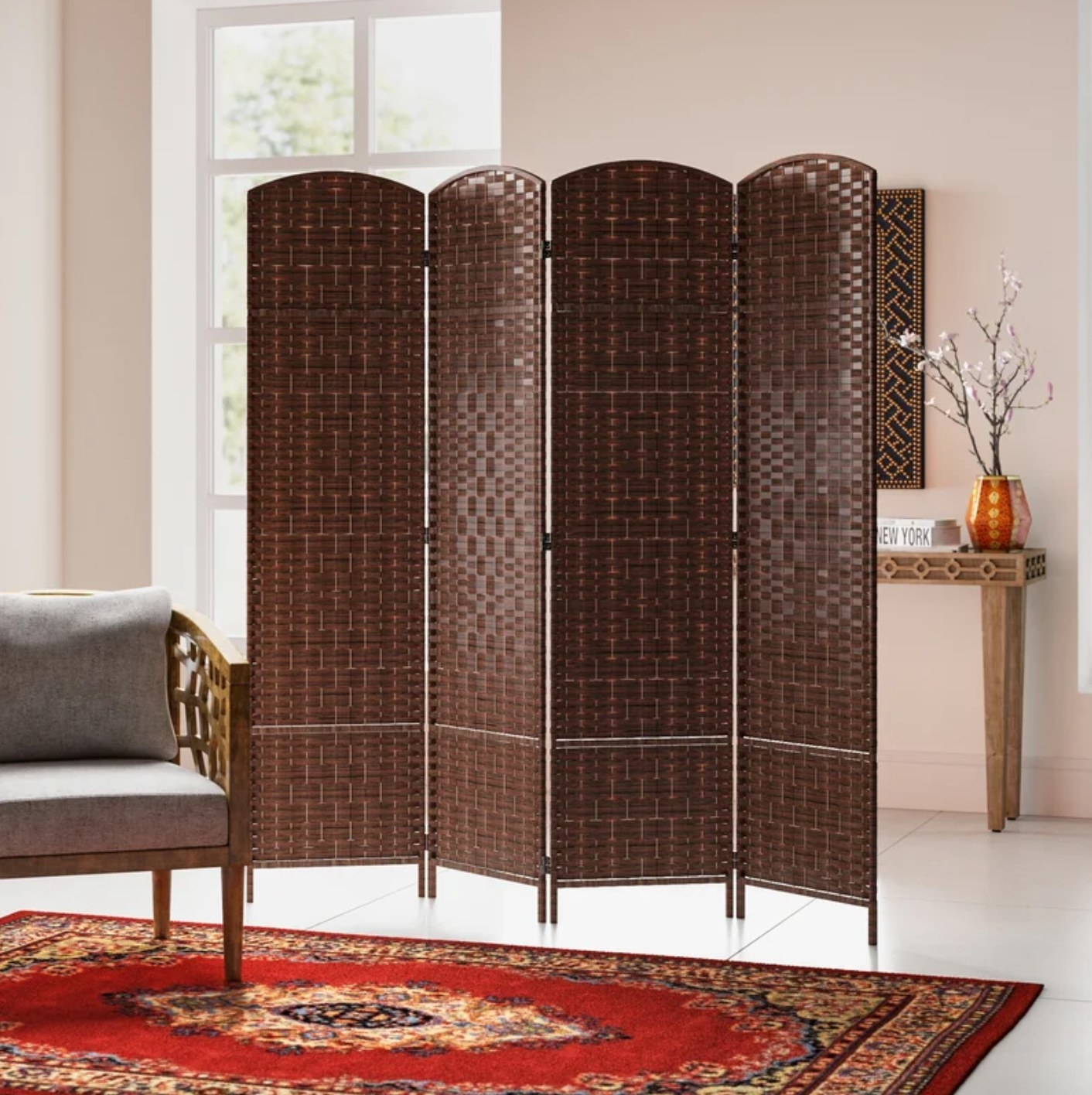 The room divider in brown